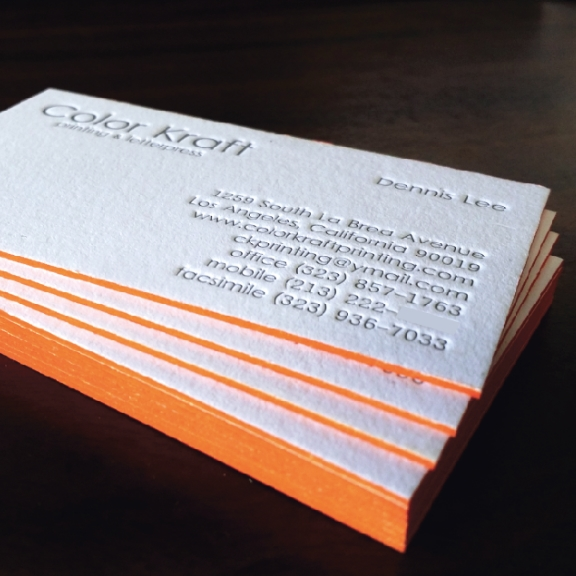Print depot los angeles printing letterpress business card with edge painting letterpress reheart Gallery